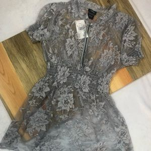 New Vanity Lace Sheer Sliver Blouse Small Boho